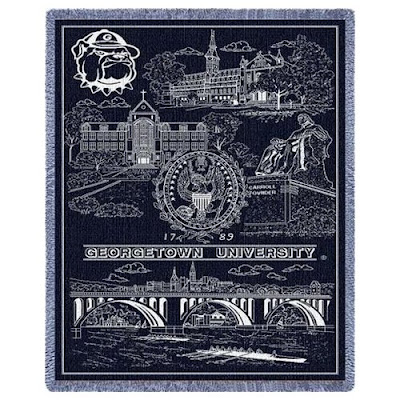 Georgetown tapestry blanket that is blue with campus landmarks.