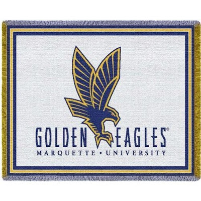 Marquette Golden Eagles white, blue, and gold blanket.