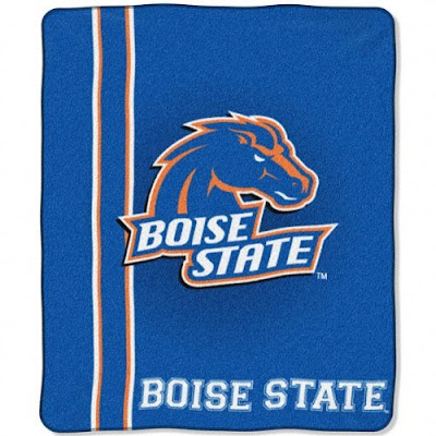 Boise State blue fleece blanket.