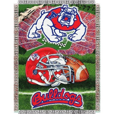 Fresno State Bulldogs football tapestry throw.
