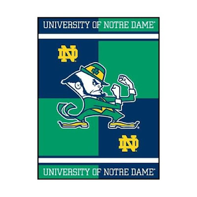 University of Notre Dame green and blue blanket.