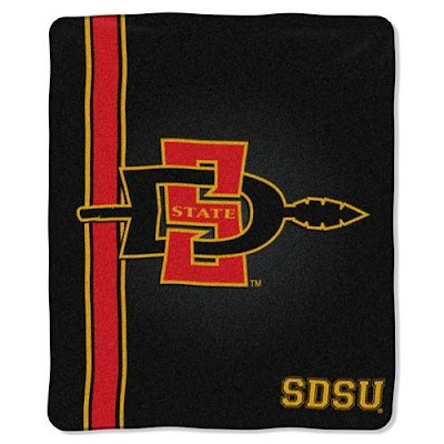 San Diego State University (SDSU) Aztecs blanket that is black.