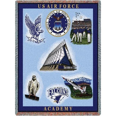 US Air Force Academy tapestry with campus landmarks.