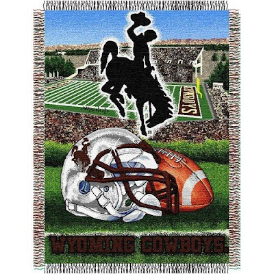 Wyoming Cowboys football tapestry blanket.