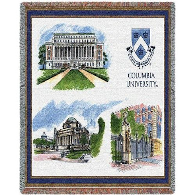 Columbia University tapestry blanket with campus landmarks.