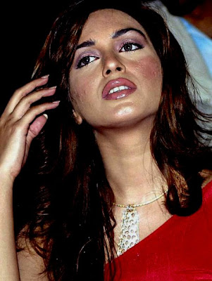 Iman Ali with makeup but not enough to cover her acne and acne scars.