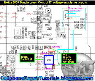 5800 Touchscreen Control IC voltage supply test spots