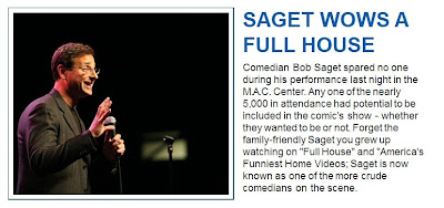 Comedian Bob Saget spared no one during his performance last night in the M.A.C. Center.   — THE DAILY KENT STATER