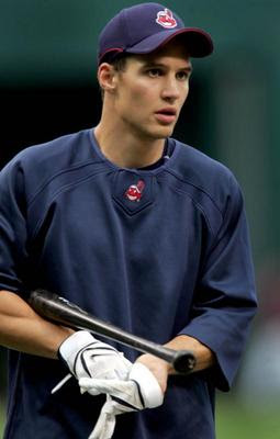 Cleveland Indians center fielder Grady Sizemore gets ready to take batting practice on Wednesday, Sept. 3, 2007, before the first game of the 2007 ALDS series against the New York Yankees at Jacobs Field. — Chuck Crow/The Plain Dealer