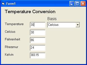 Simple VB Program Temperature Conversion with Multiple Basis