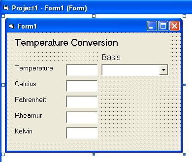 Temperature Conversion Sample Program with multiple basis