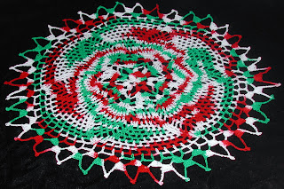 Christmas colored doily, great for you holiday decor