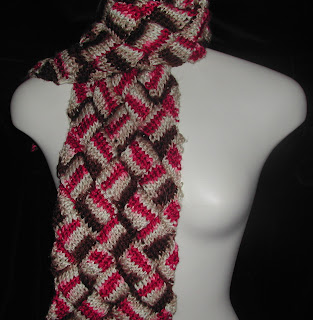 This is the entrelac scarf that's leaving home today.