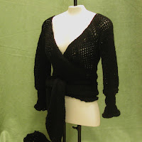 This Black wrap sweater is now available in my shop.