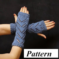 Blue Chevron Fingerless Glove Pattern, for sale!