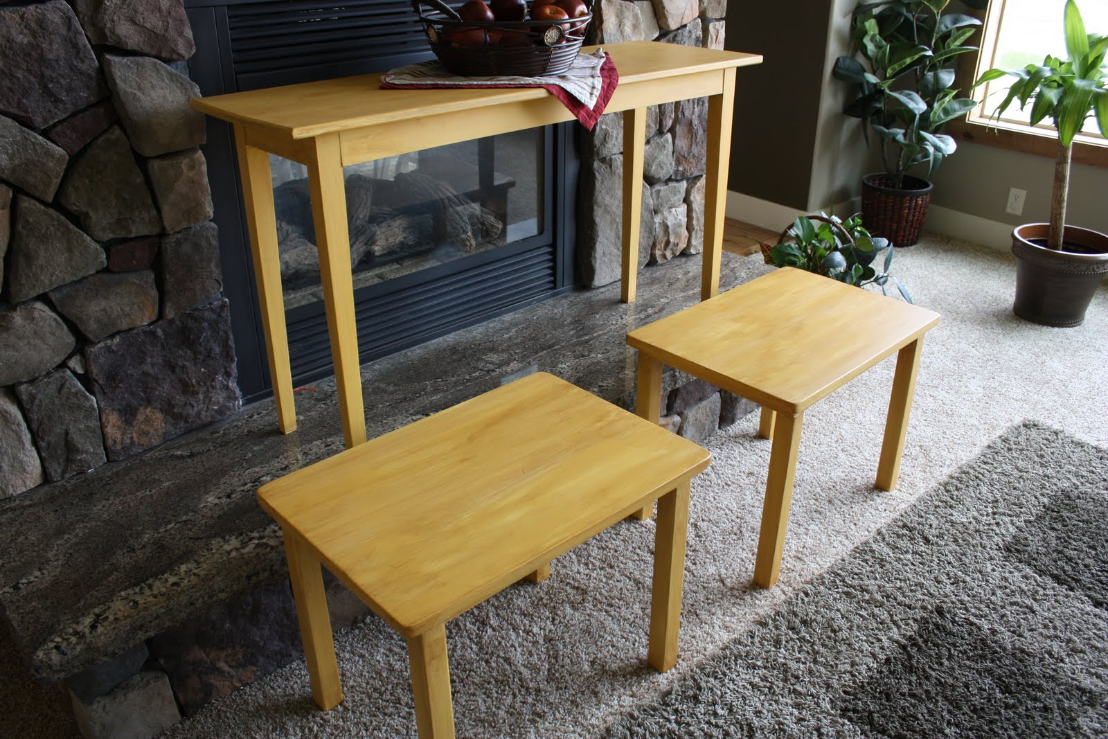 Buttercream yellow sofa table and end tables sold moka dots for Sofa table yellow