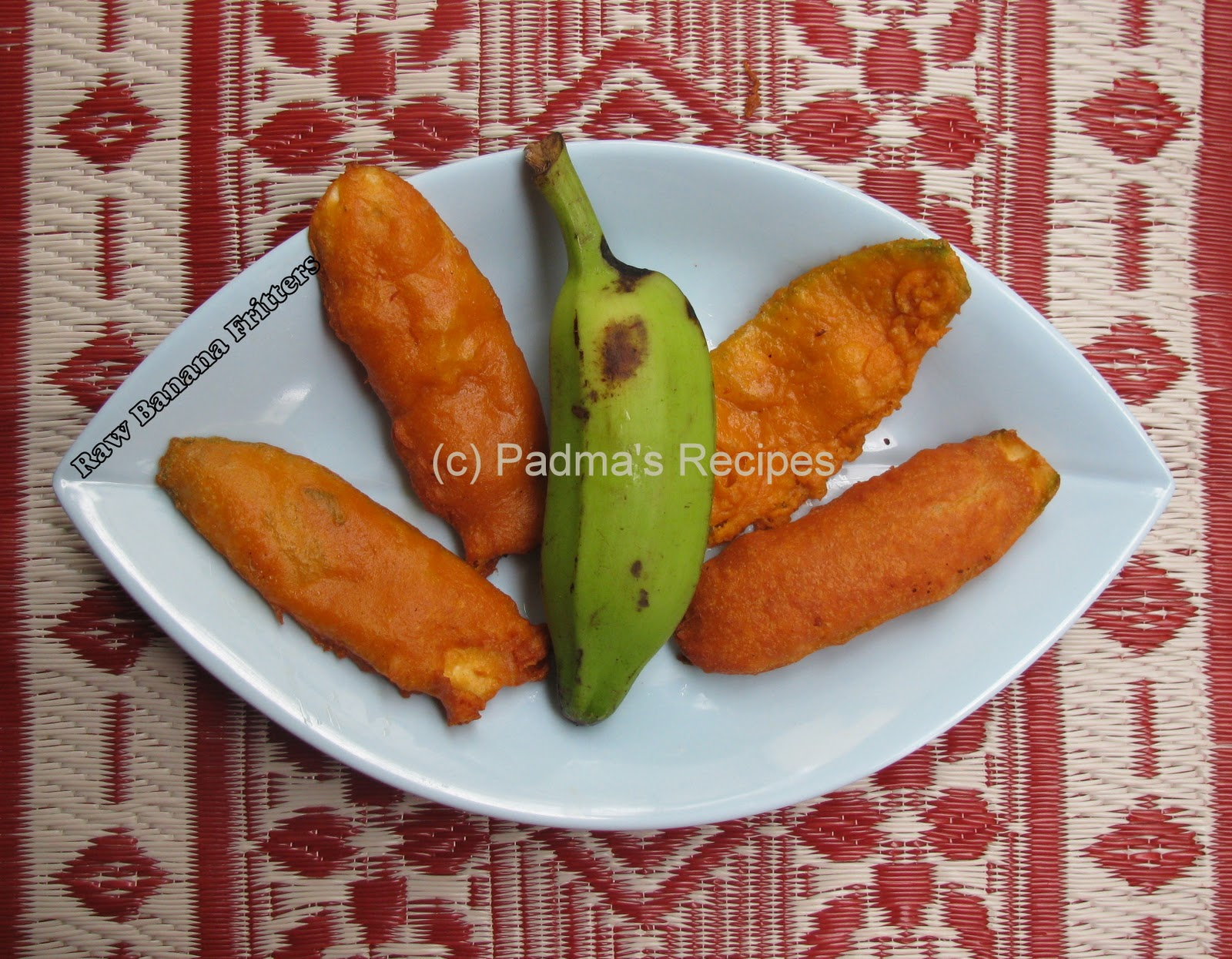kangkong balls and banana peel fritters Indian cooking manual its all about  chicken pakoda/fritters is one of them  discard the both ends and upper layer of raw banana, you can peel this with little.