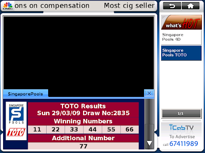iCabTV: Singapore Pools 4D & TOTO Results now on iCabTV