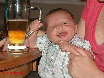 funny baby eith beer mug