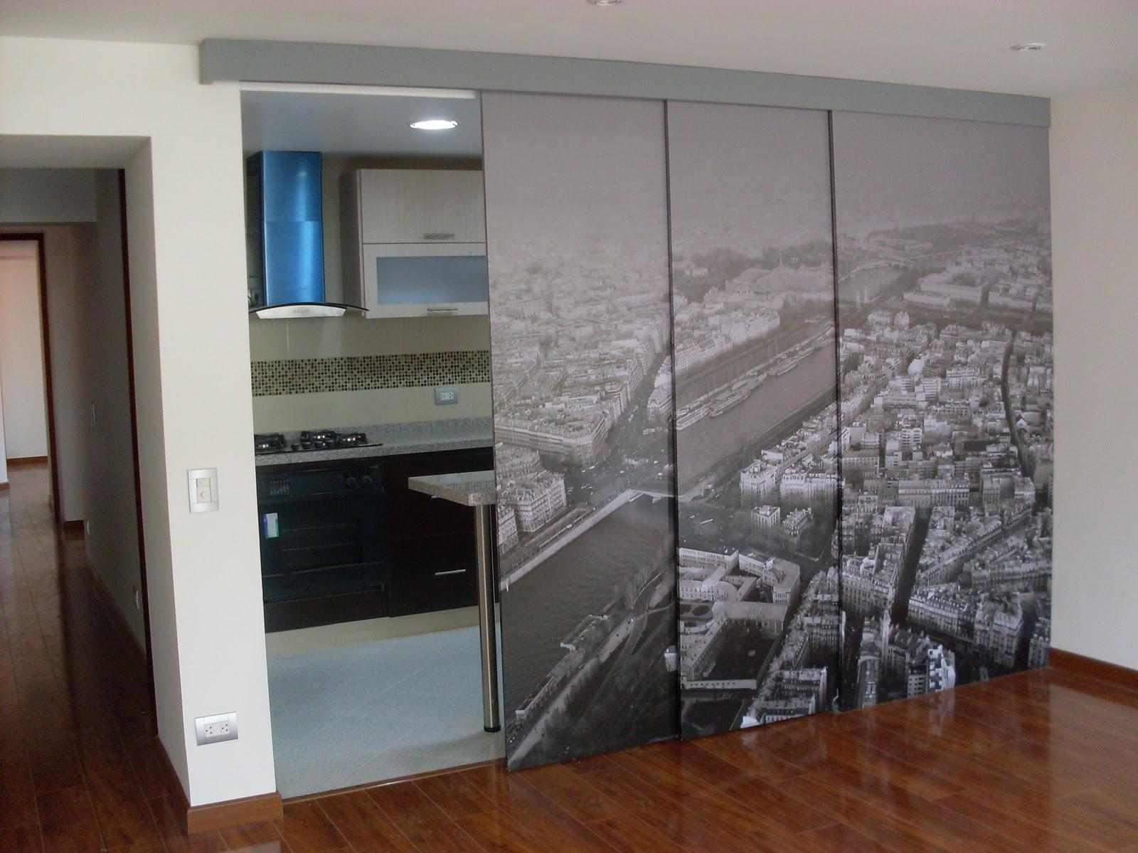 I g a cocinas y carpinteria puerta corredera con vinilo - Puertas con vinilo ...