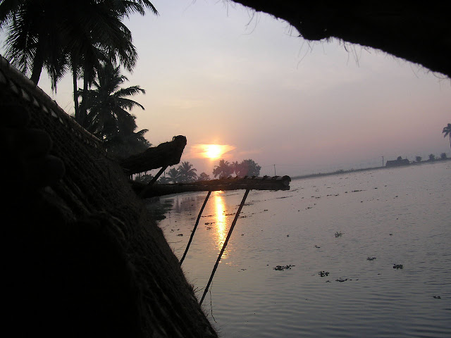 Photo of a sunlight in Kerala, from the open window of a houseboat