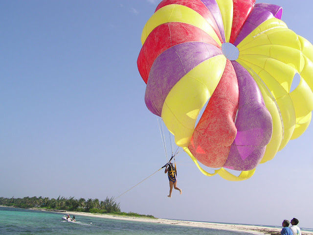 A person starting to fly off the ground in a parasail in the Lakshadweep islands