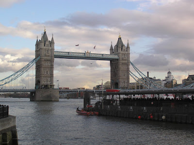 The London Bridge and a boat on the Thames