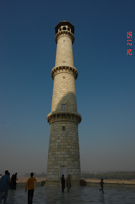 View of one of the minarets of the Taj Mahal