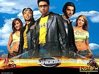 Dhoom (2004) - the action thriller starring John Abraham, Abhishek Bachchan, Uday Chopra, Rimi Sen, Esha Deol