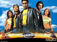 Dhoom (2004) - the action thriller starring John Abraham, Abhishek Bachchan, Uday Chopra, Rimi Sen, Esha Deol