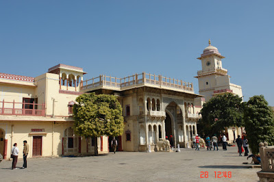 View of some of the external architecture of Jaipur City Palace in the city of Jaipur in India