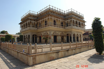 Side view of the main middle building inside the Jaipur City Palace in the state of Rajasthan, India