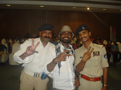 Remo Dsouza from Dance India Dance with some policeman fans