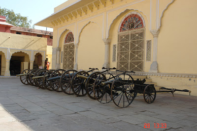 Photo: Row of cannons outside the Jaipur City Palace