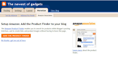 Adding the Amazon Product Finder to your Blogger blog setting