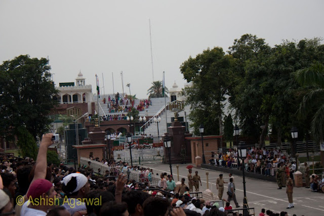 Clear view of the border fence between India and Pakistan at the Wagah Border