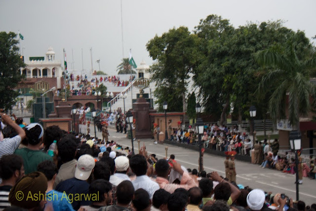 The Pakistani and Indian flag hoisted over the flagstaffs at the Wagah Border