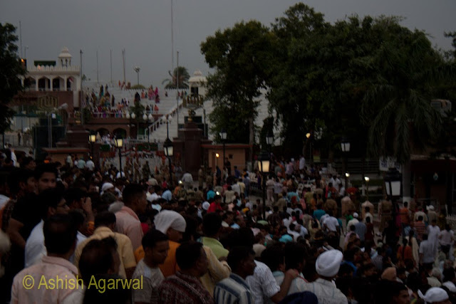 The crowd dispersing after the flag lowering ceremony at the Wagah Border between India and Pakistan