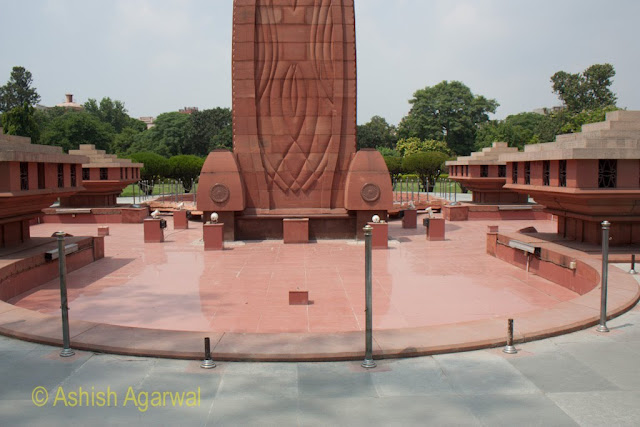 The bottom of the structure inside the Jallianwala Bagh memorial in Amritsar