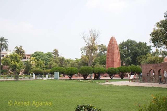 View of the sandstone memorial at the middle of the Jallianwala Bagh in Amritsar