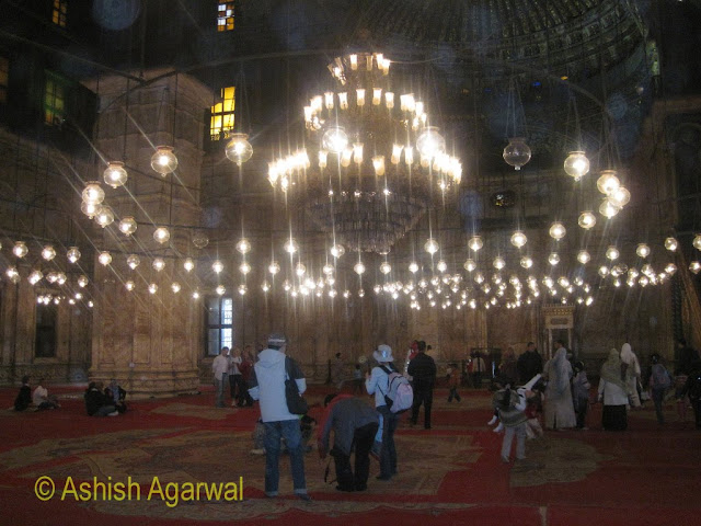 Saladin Citadel in Cairo - the wonderful view inside the Mohammed Ali Mosque with 365 lamps