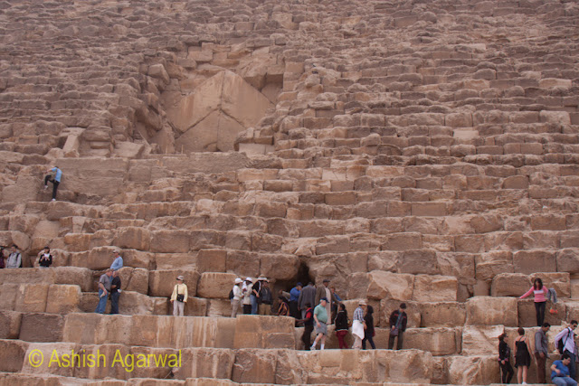 Cairo Pyramids - original entrance and current entrance to the Great Pyramid