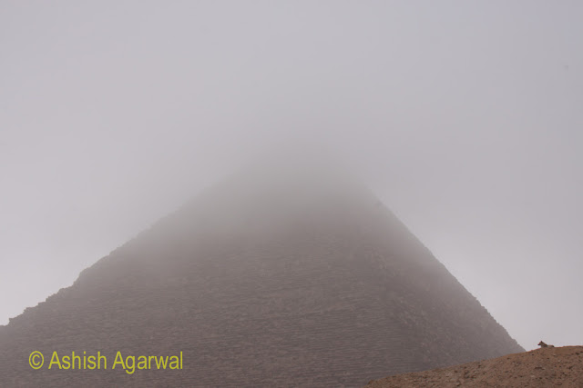 Cairo Pyramids - Top of Great Pyramid obscured by fog