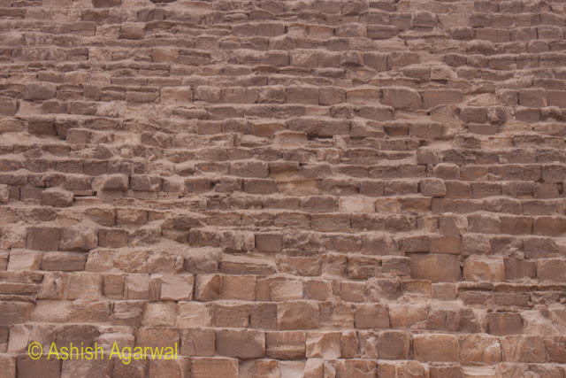 Cairo Pyramids - The stone of the structure of the Great Pyramid