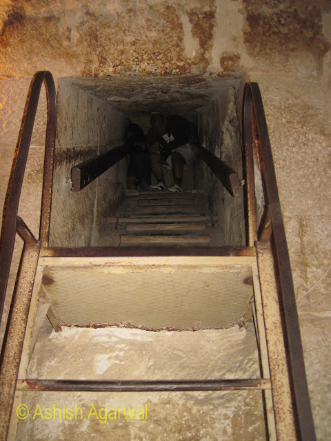 Cairo Pyramids - Some of the steeper steps inside the Burial Chamber of the Great Pyramid