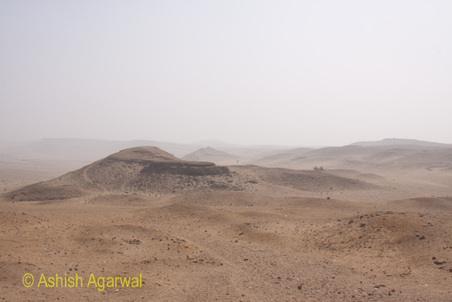 Cairo Pyramids - The small hillocks surrounding the Great Pyramid in Giza, with the desert starting at this point