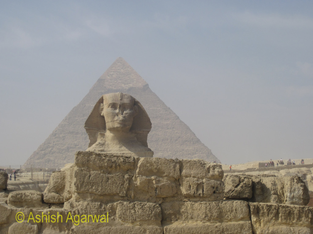 The Sphinx with the Great Pyramid in the background, they are very close to each other