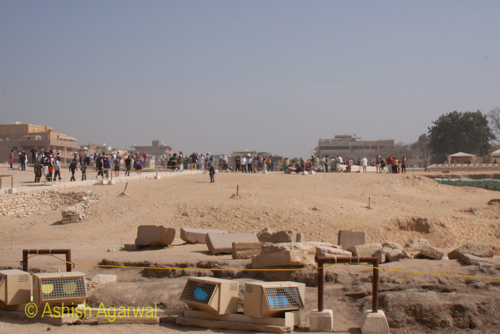 The equipment located around the Pyramids and the Sphinx, that is used for the Sound and Light show