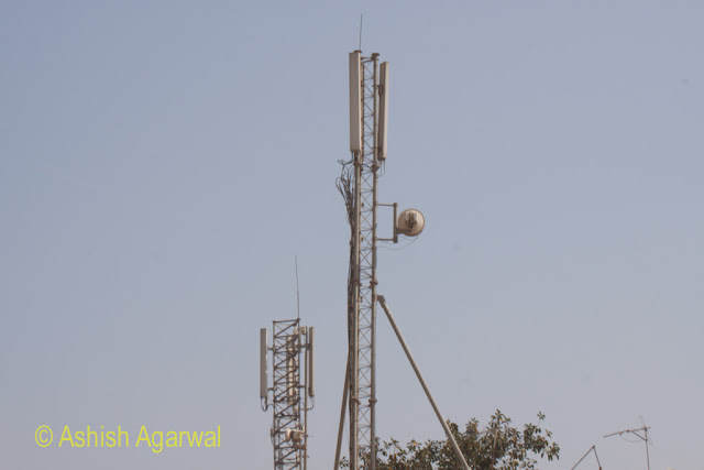 Tele communications equipment near the Great Pyramid in Giza