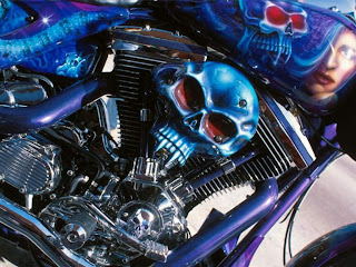 Custom Painted Skull Bike Chopper Wallpaper